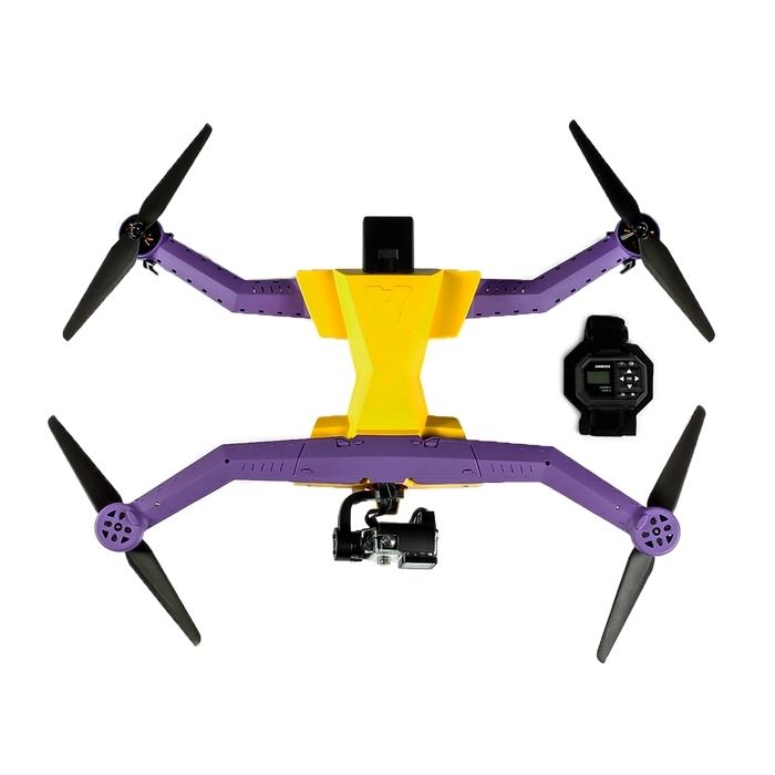 Drone AirDog Auto-follow avec bracelet AirLeash de contrôle étanche vue de haut