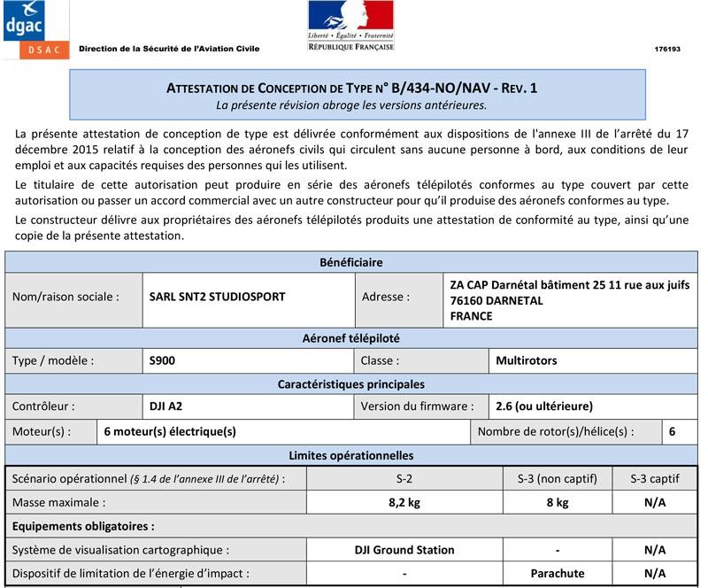 Attestation B434 pour DJI S900 homologué S1, S2 et S3