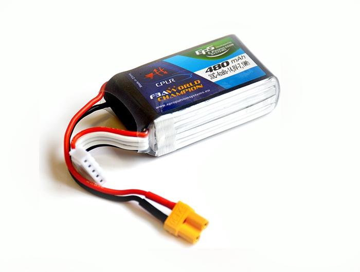 Batterie lipo 4S 480mAh 30C (XT30) - EPS - Vue du dessus