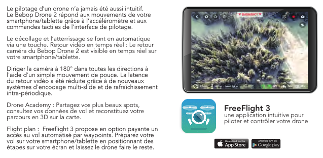 Capture d\'écran de l\'application pour Bebop 2