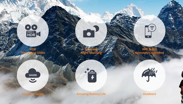 Pictogrammes des caractéristiques techniques de la caméra Brinno TLC120