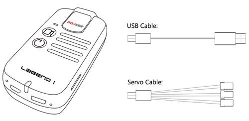La caméra Legend 1 sera fournie avec deux câbles, un câble USB pour la recharger, et un câble servo pour la contrôler à distance.