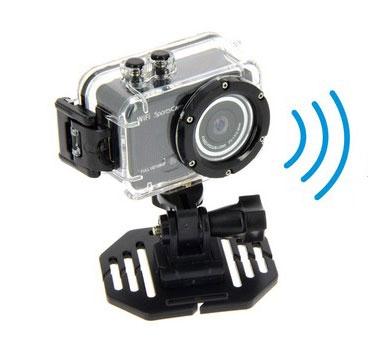 Caméra SportsCam 1080p Wifi dans son caisson - vue de côté