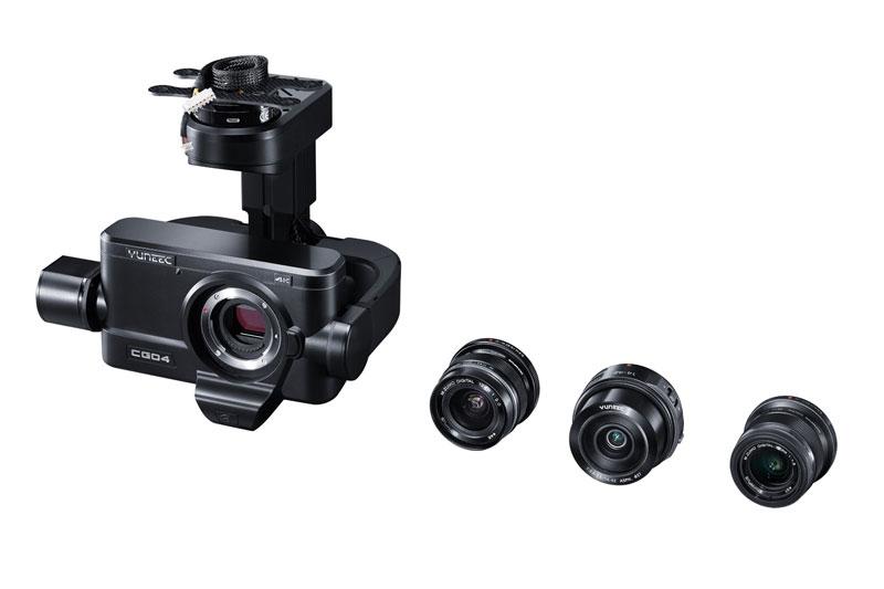 La caméra Yuneec CGO4 dispose d\'objectifs interchangeables