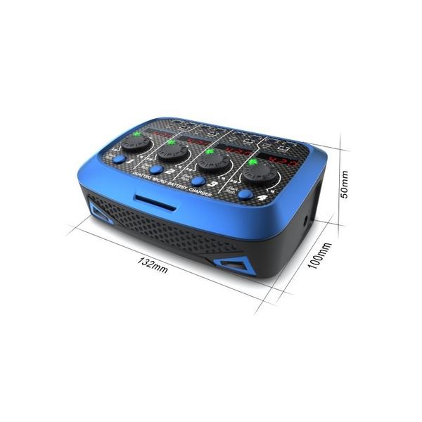 Chargeur Quattro Micro battery AC/DC vue de face 2 avec dimensions