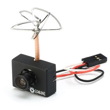 Combo Caméra/Emetteur Eachine MC01 5.8G 40CH 25MW vue de trois quart avec son câble