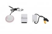 Contenu du syst�me de stabilisation GPS DJI A3 : antenne GPS Pro, contr�leur de vol A3 et PMU.