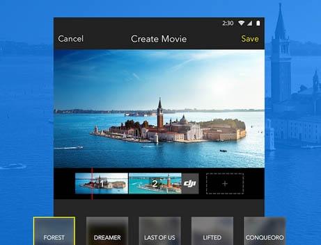 L\'application DJI GO permet d\'éditer directement les vidéos et même d\'y ajouter une piste son.