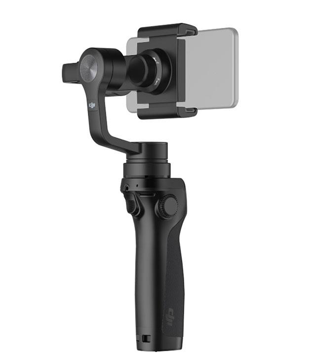 DJI Osmo mobile - stabilisateur 3 axes pour smartphone et iPhone - vue de dos et de côté