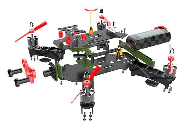 Drone Eachine Racer 250 version DIY en vue décomposée