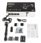 Contenu du pack Steadycam Feiyu G100: stabilisateur, batteries rechargeables, chargeur, connectiques et manuel d\'utilisation.