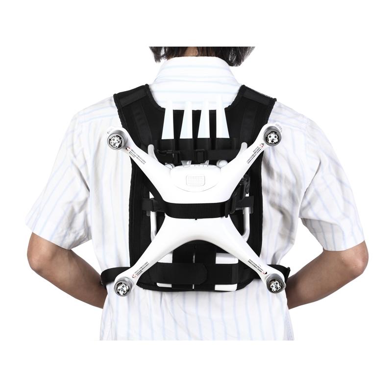 Harnais de transport pour DJI Phantom 4 vue de dos avec hélices et drone