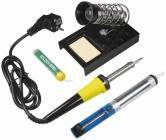 Kit de soudage pour d�butant comprenant le fer, une bobine d'�tain, une pompe � dessouder, une �ponge et un support