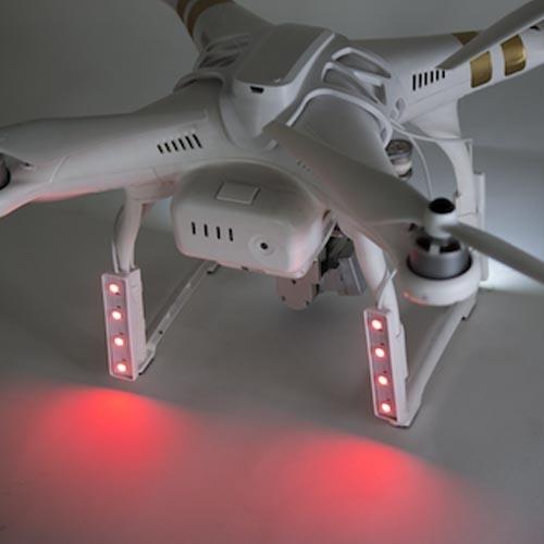 Kit de LED DJI Phantom 3 - Polar Pro installé sur le drone face arrière