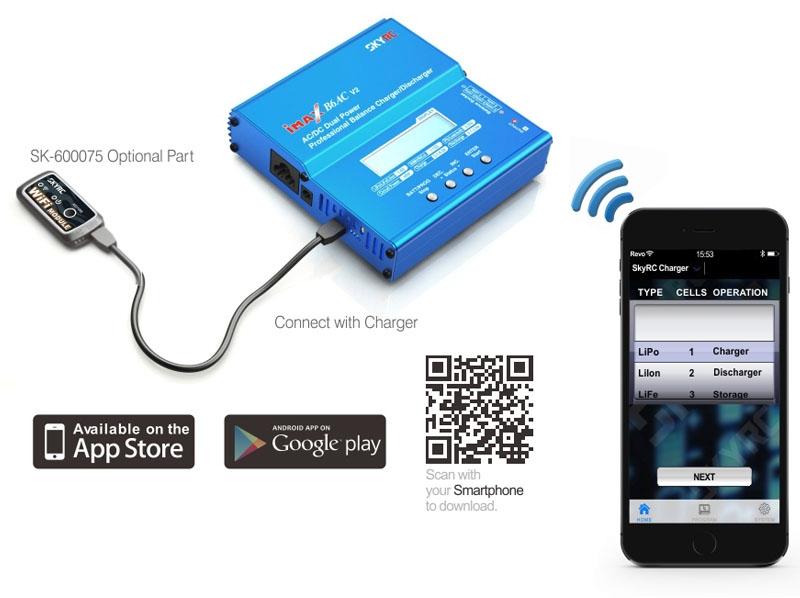 Module Wifi connecté à un chargeur SkyRC B6AC v2