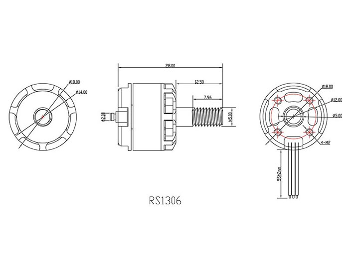 Schéma du moteur Emax RS1306 3300kv