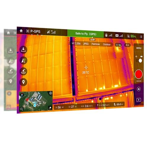 Cette solution est complétement intégré à DJI GO, l\'application DJI qui permet le contrôle à distance du drone et de la caméra FLIR.