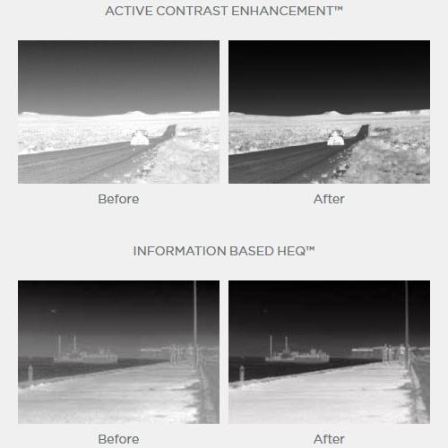 Correction logicielle FLIR : Digital Detail Enhancement™, Active Contrast Enhancement™, Smart Scene Optimization™, information Based HEQ™.