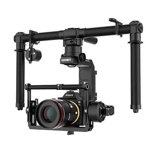 Nacelle Gremsy H3 en mode sol avec appareil photo pro monté dessus - vue de côté