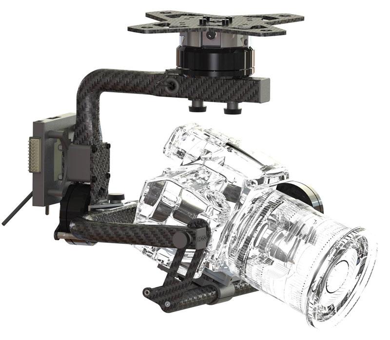 La nacelle HDS3 est capable d\'embarquer des appareils photo réflex et des caméras comme la BlackMagic studio