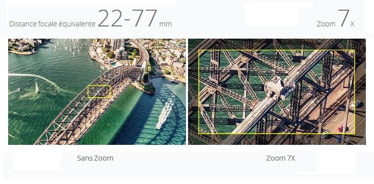 Deux photos avec et sans zoom x7