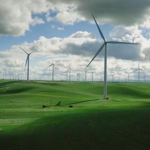 champ éoliennes filmé par une caméra X5 avec filtre Polar Pro