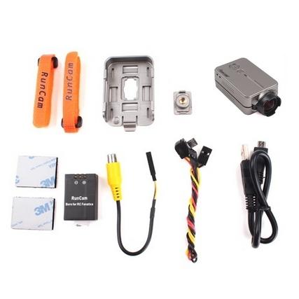 Pack complet Caméra RunCam 2 HD 1080p avec coque de remplacement, sangles, batterie, fixations 3m et connectiques