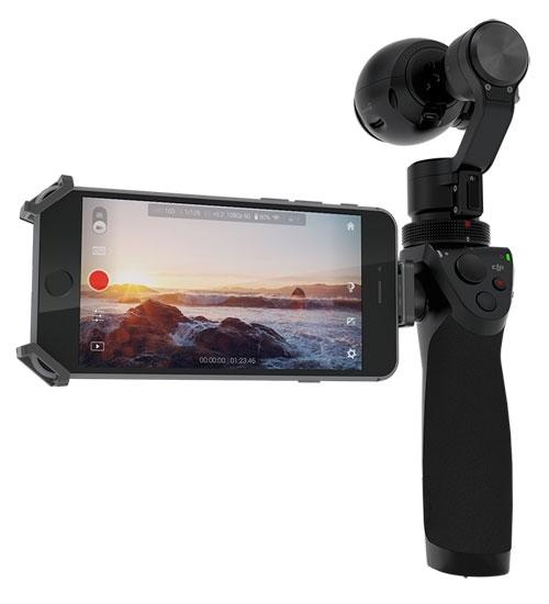 Pack DJI Osmo & valise Plaber vue de dos et support téléphone