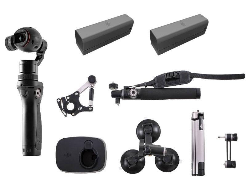 Pack Sport pour DJI Osmo comprenant le stabilisateur, 2 batteries supplémentaires, un trépied, une perche, une fixation tube, une triple ventouse, un bras d\'extension et un support