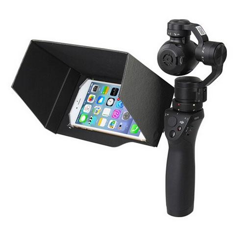 Pare-soleil avec smartphone monté sur le DJI Osmo - vue de côté
