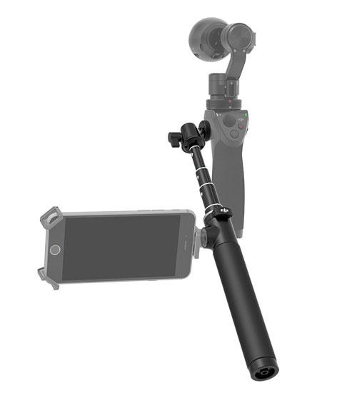Perche télescopique DJI Osmo avec pas de vis latéral pour fixer votre smartphone