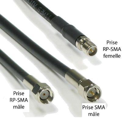 Rallonge SMA femelle - SMA mâle de 15 cm