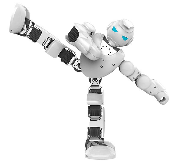 Robot humanoïde Alpha 1S avec jambe levée - vue de face