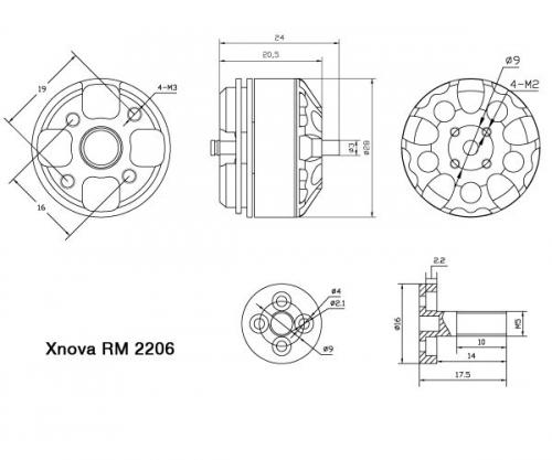 Roulements pour Xnova RM 2206 détails techniques