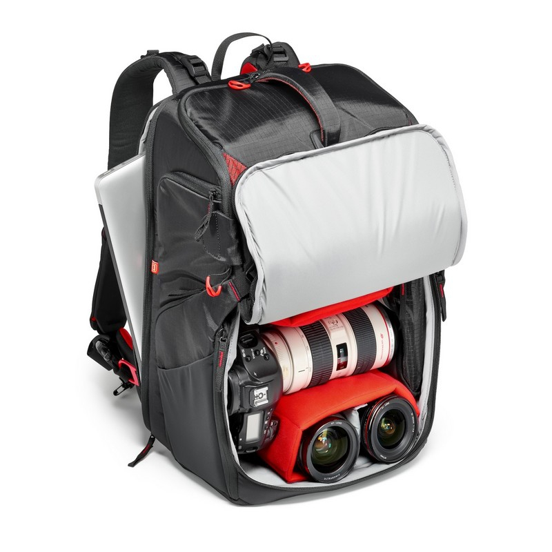 Configuration photo sac à dos Manfrotto Pro Light avec 3 boîtiers DSLR