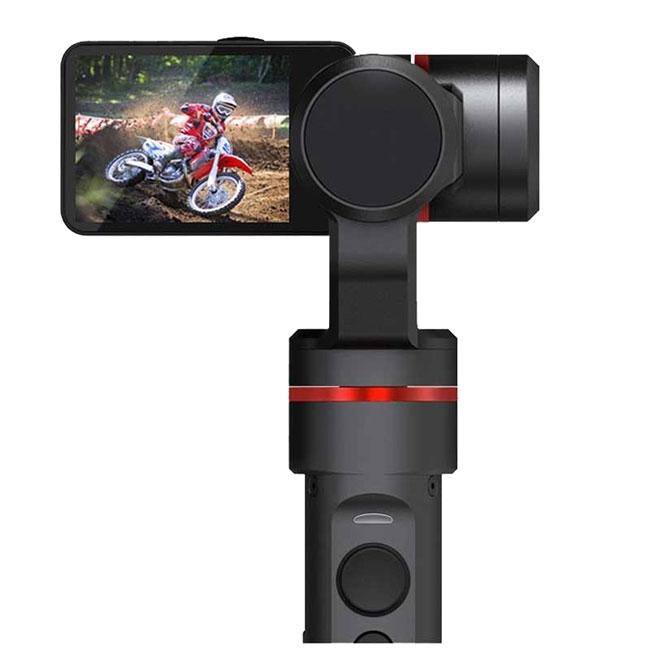 Stabilisateur 3 axes Feiyu Summon - vue zoomée sur la caméra de dos
