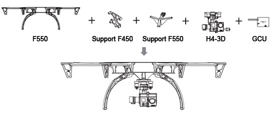 Support de fixation H4-3D pour F550