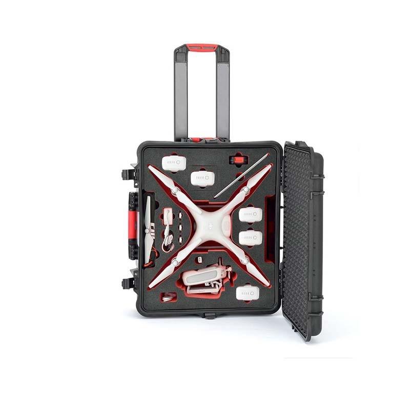 Valise PLABER avec DJI Phantom 4 et accessoires rangés - vue de face