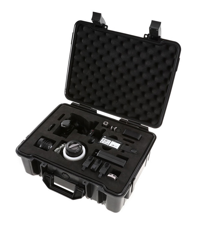 Valise de rangement pour DJI Osmo PRO ouverte avec accessoires rangés