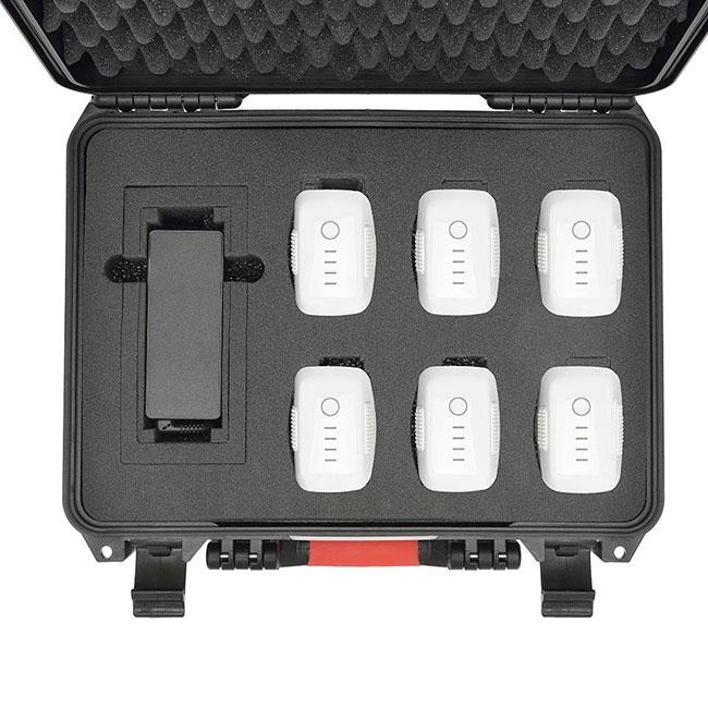 Valise HPRC avec 6 batteries Phantom 4 et chargeur - vue du dessus