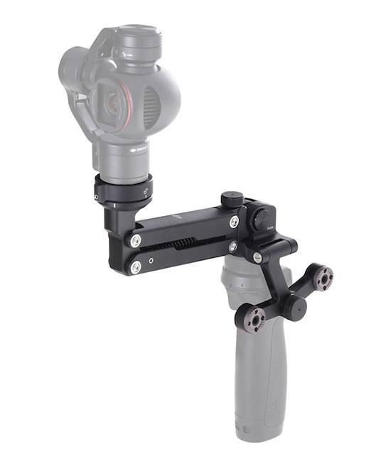 Caméra X3 installée sur le stabilisateur DJI Osmo via le Z-Axis - vue de biais