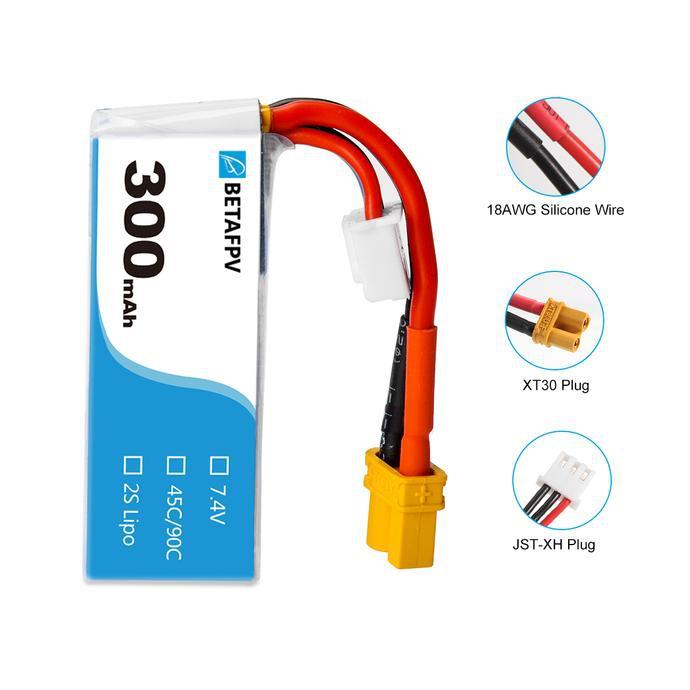 2 Batteries 300mAh 2S 45C - BetaFPV