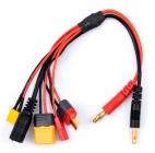 20cm 20AWG 4.0mm Banana Plug to XT60 XT30 DC5.5 T Plug Charger Adapter Cable