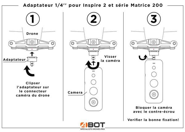 Adaptateur 1/4\'\' pour Inspire 2 et série Matrice 200 - ABOT