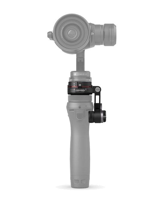 Vue de la nacelle et caméra X5 montée sur le stabilisateur DJI Osmo avec l\'adaptateur - vue de face