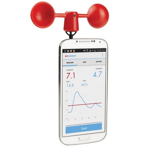 Anémomètre Vaavud Mjolnir sur smartphone