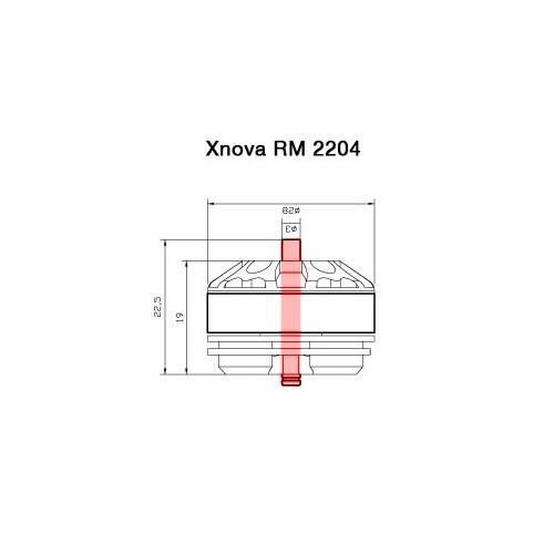 Axe pour moteur Xnova RM 2204 détails techniques