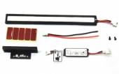 La barre LED MIKO contient une télécommande de contrôle, un câble d\'alimentation, des fixations adhésives, un support de fixation et 2 vis