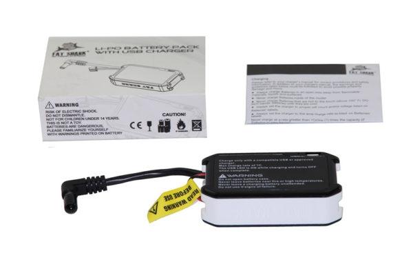 Batterie Fatshark 1800 mAh avec indicateur LED et charge USB contenu de la boite