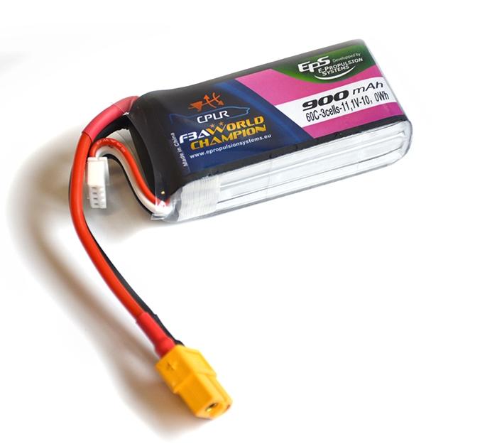 Batterie lipo 3S 900mAh 60C (XT60) - EPS - Vue du dessus